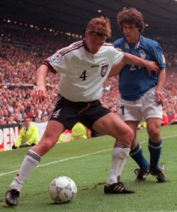 Football - Italy v Germany - Euro 96 - Old Trafford - 19/6/96 Mandatory Credit: Action Images Germany's Steffen Freund holds off Italy's GianFranco Zola